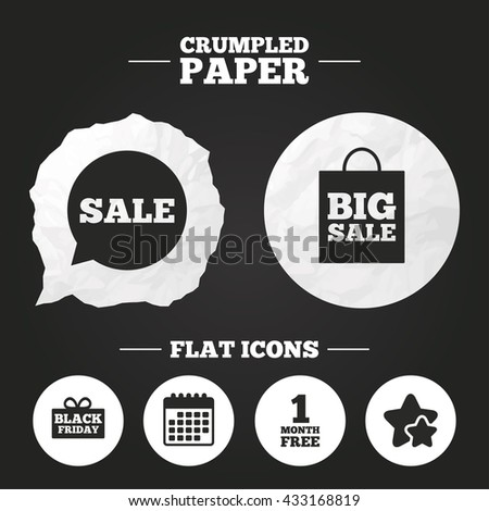 Crumpled paper speech bubble. Sale speech bubble icon. Black friday gift box symbol. Big sale shopping bag. First month free sign. Paper button. Vector - stock vector