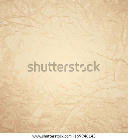 Crumpled paper with many folds. Vector. - stock vector