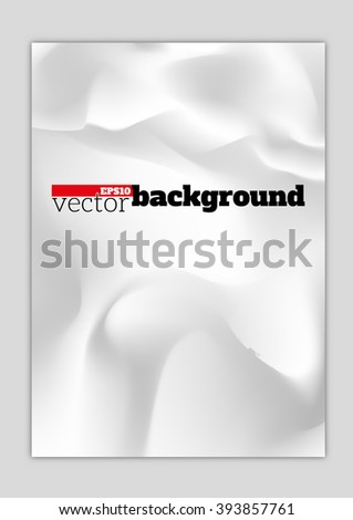 Crumpled white paper background - stock vector