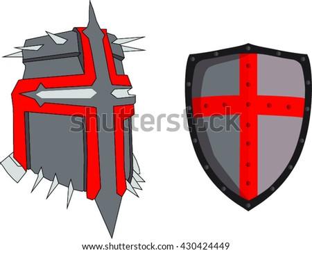 Crusader knight helmet and shield - stock vector