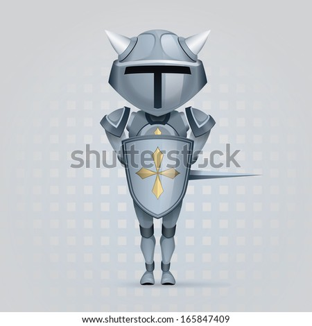 crusader knight with a big head is covered with a shield - stock vector