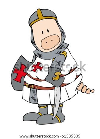Crusader Pig. - stock vector