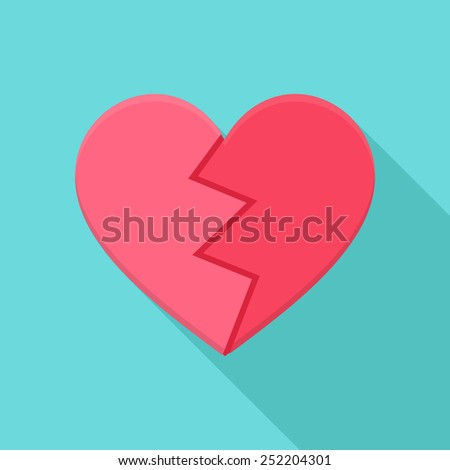 Crushed heart. Flat stylized object with long shadow - stock vector