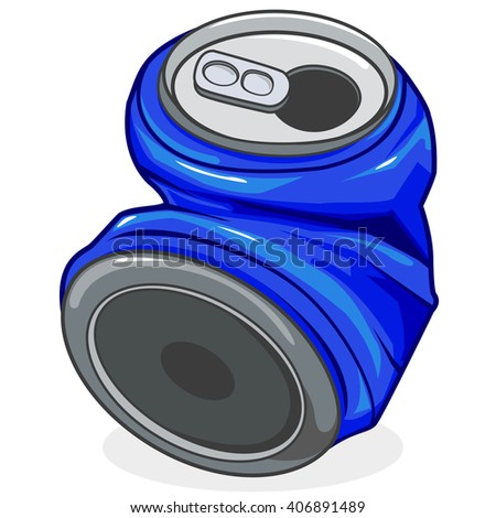 Crushed tin can - stock vector