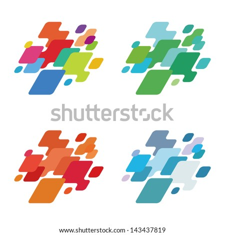 Crushing abstract brick pattern. Design arrow and block logo element. Colorful icons set. Digital type. You can use in the game, app, entertainment, electronics, media, or creative design concepts.  - stock vector