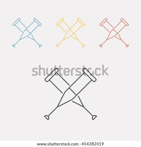 Crutches icon. Vector line illustration. - stock vector