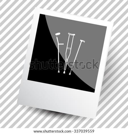 crutches. Photoframe. Vector icon. - stock vector