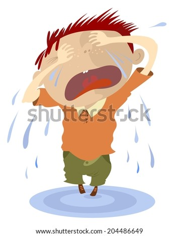 Crying child makes a puddle of tears - stock vector