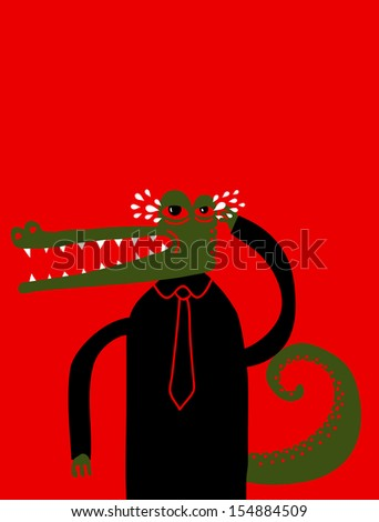 crying crocodile - stock vector