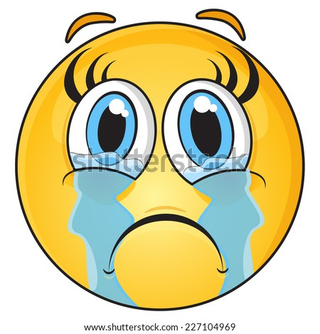 Crying Girl Face - stock vector