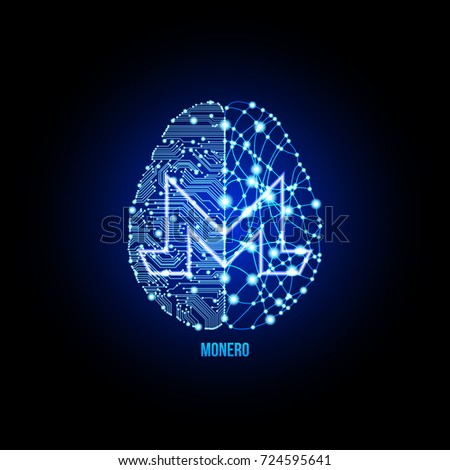 Crypto currency monero on brain background on black background. Vector illustration. Use for logos, print products, page and web decor or other design.