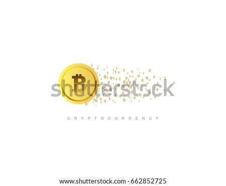 Virtual Money Cryptocurrency Concept Golden Coin With Bitcoin Sign Vector Flat Illustration Blockchain Technology Based
