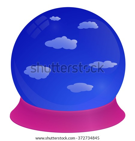 Crystal Ball with Blue Sky Inside. Vector Illustration.