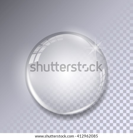 Crystal ball with reflections on transparent background. Realistic glass sphere. Vector. - stock vector