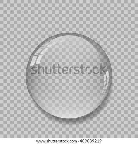Crystal ball with reflections on transparent background. Vector. - stock vector