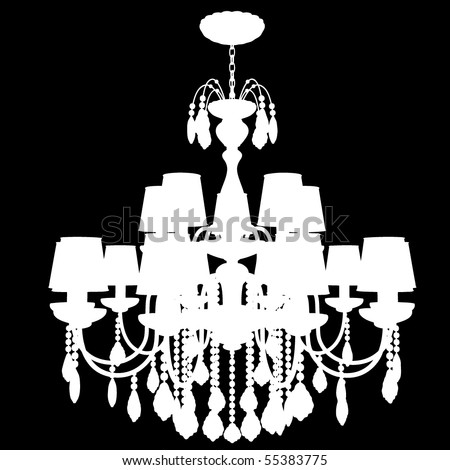 Crystal chandelier isolated on black - stock vector