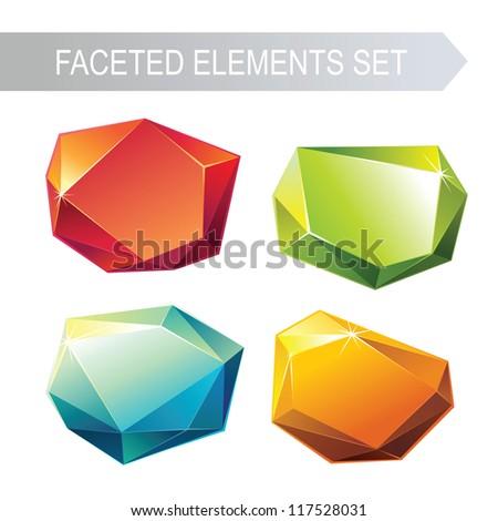crystal gem set - stock vector