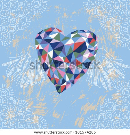 Crystal Heart with Wings - stock vector