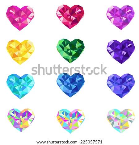 Crystal jewel isolated vector hearts - stock vector