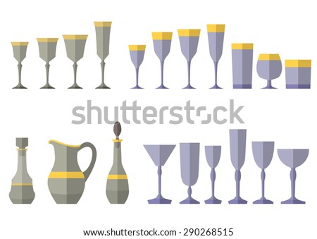 Crystal service of glass decanter jug. Eps10 vector illustration
