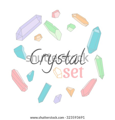 Crystal set. 15 different crystals for your design. Vector illustration. - stock vector