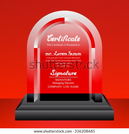 Crystal trophy certificate design template on red background. Vector Illustration - stock vector