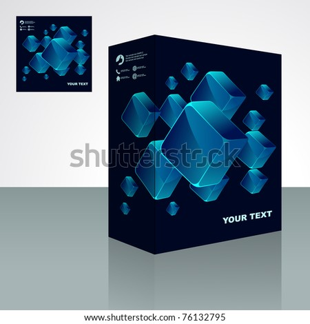 Crystals packaging box. Abstract illustration.