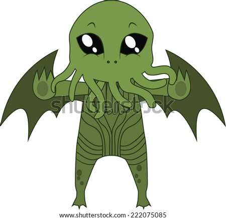 Cthulhu Halloween monster mascot - stock vector