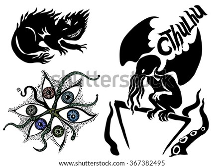 Cthulhu: Monsters Halloween silhouette. Vector horror objects. - stock vector