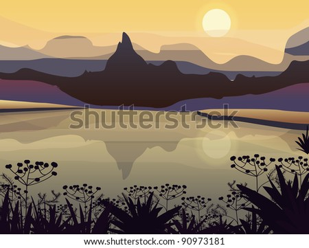 ctor landscapes with mountains - stock vector