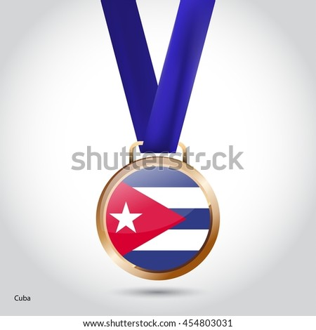Cuba Flag in Bronze Medal. Olympic Game Bronze Medal. Vector Illustration - stock vector