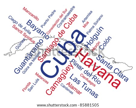 Cuba map and words cloud with larger cities - stock vector