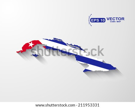Cuba map with shadow effect - stock vector