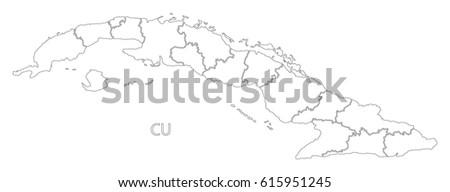 Cuba Outline Silhouette Map Illustration Provinces Stock Vector - Cuba provinces map