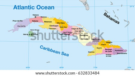 Cuba Political Map Stock Vector 632833484 Shutterstock