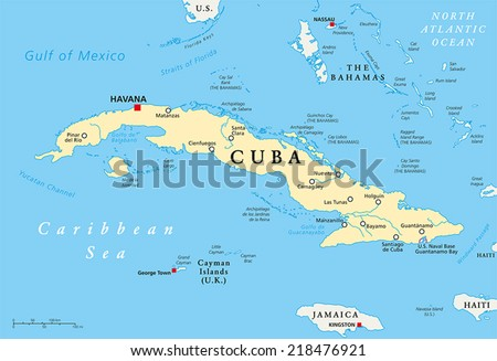 Cuba Political Map with capital Havana, national borders, most important cities and rivers. English labeling and scaling. Illustration.