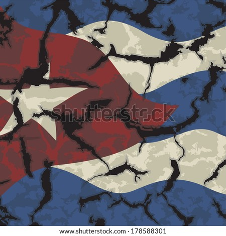 Cuban grunge flag.  - stock vector