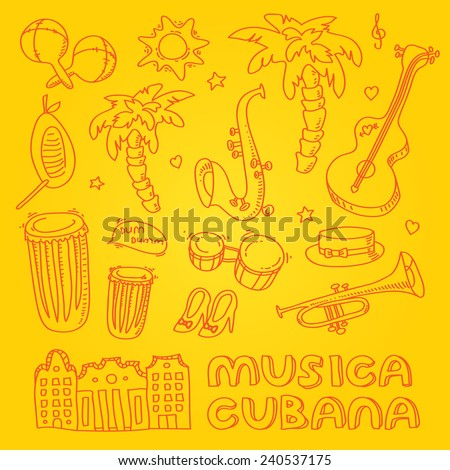 Cuban salsa music illustration with musical instruments, palms, traditional architecture. Vector modern and stylish design elements set
