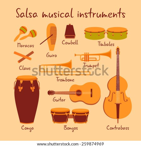 Cuban salsa musical instruments vector set - stock vector