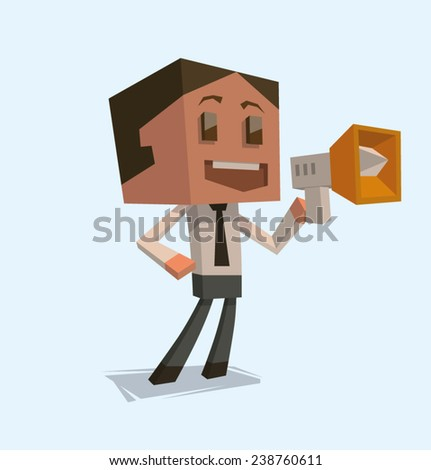 Cube businessman talking with megaphone, vector - stock vector