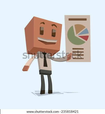 Cube businessman with a chart, vector - stock vector
