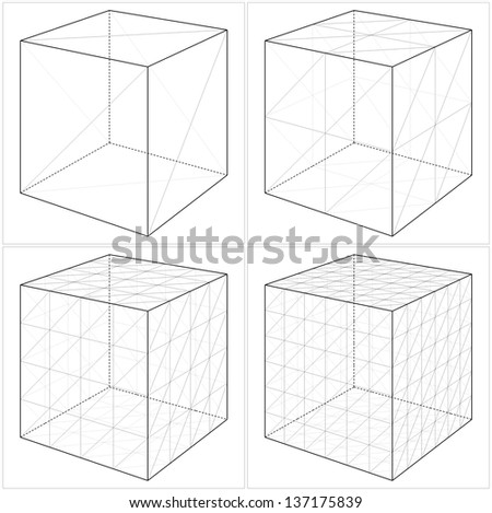 Cube From The Simple To The Complicated Shape Vector 05 - stock vector
