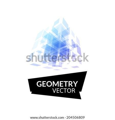Cube geometry construction icon purple blue symbol isolated on white background, abstract sign for business company, vector illustration - stock vector