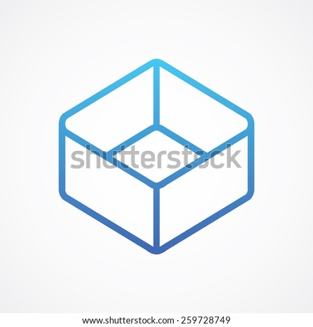 Cube icon in line style - stock vector
