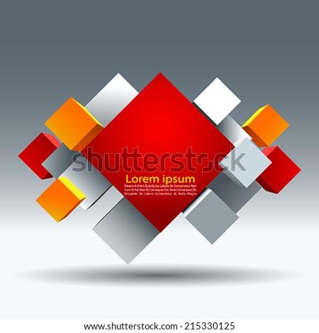 cube info graphic  - stock vector