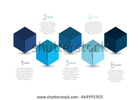 Cube infographics options banner, template, scheme, chart, text layout. Five step design. Vector illustration.