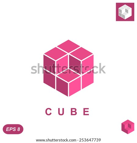 Cube isometric logo concept, 3d illustration, vector, eps 8 - stock vector