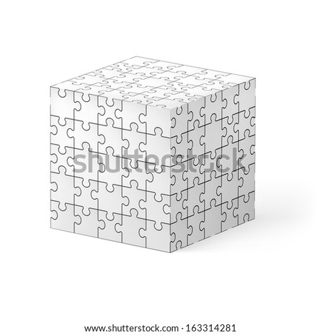 Cube made of white puzzle elements. Illustration on white background.   - stock vector