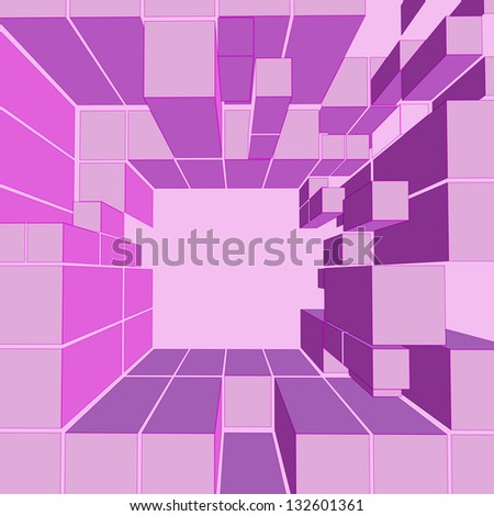 cube pink shaded frame composition vector illustration - stock vector