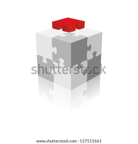 Cube Puzzle. Grayscale With A Red Piece. Vector Illustration - stock vector